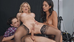 Black threesome fuck excited too