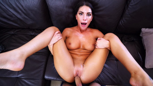 Busty babe August Ames amateur fuck with facial cumshot!