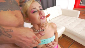 Pig-tailed blonde Haley Reed deepthroat fuck!