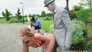 23yo Russian babe fucking outdoor with the busker - starring busty Alessandra Jane!