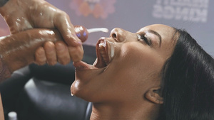 Horny ebony babe Jenna Foxx gets huge sperm load in her mouth!