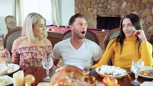 Stepsisters Avi Love and Paisley Bennett handjob cock of their family friend under the table!