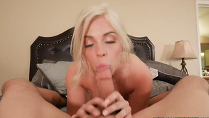 Tanned blonde Allie Nicole oral sex and footjob!