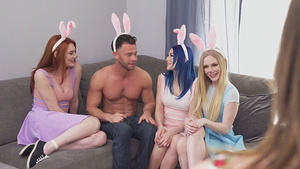 My step cousins Emma Starletto, Jewelz Blu, Lacy Lennon are sucing my cock!