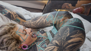 Fully tattooed girl Anuskatzz ass and pussy fuck with all inked boyfriend