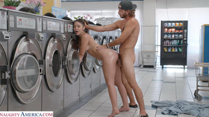Young slutty babe Catalina Ossa gets fucked by stranger at the laundry